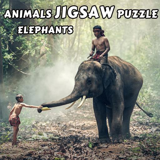 free online Animals Jigsaw Puzzle Elephants